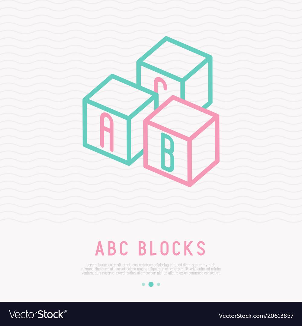 Abc blocks thin line icon
