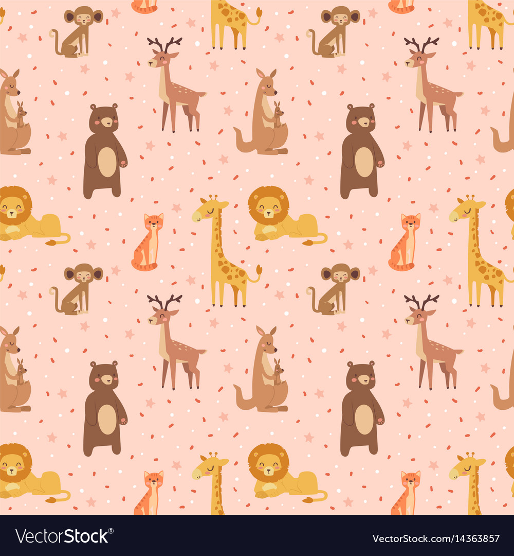 Africa animals graphic travel seamless pattern vector image