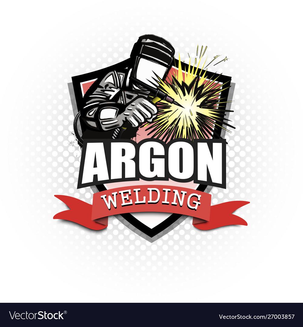 Argon Welding Logo Template Design Royalty Free Vector Image