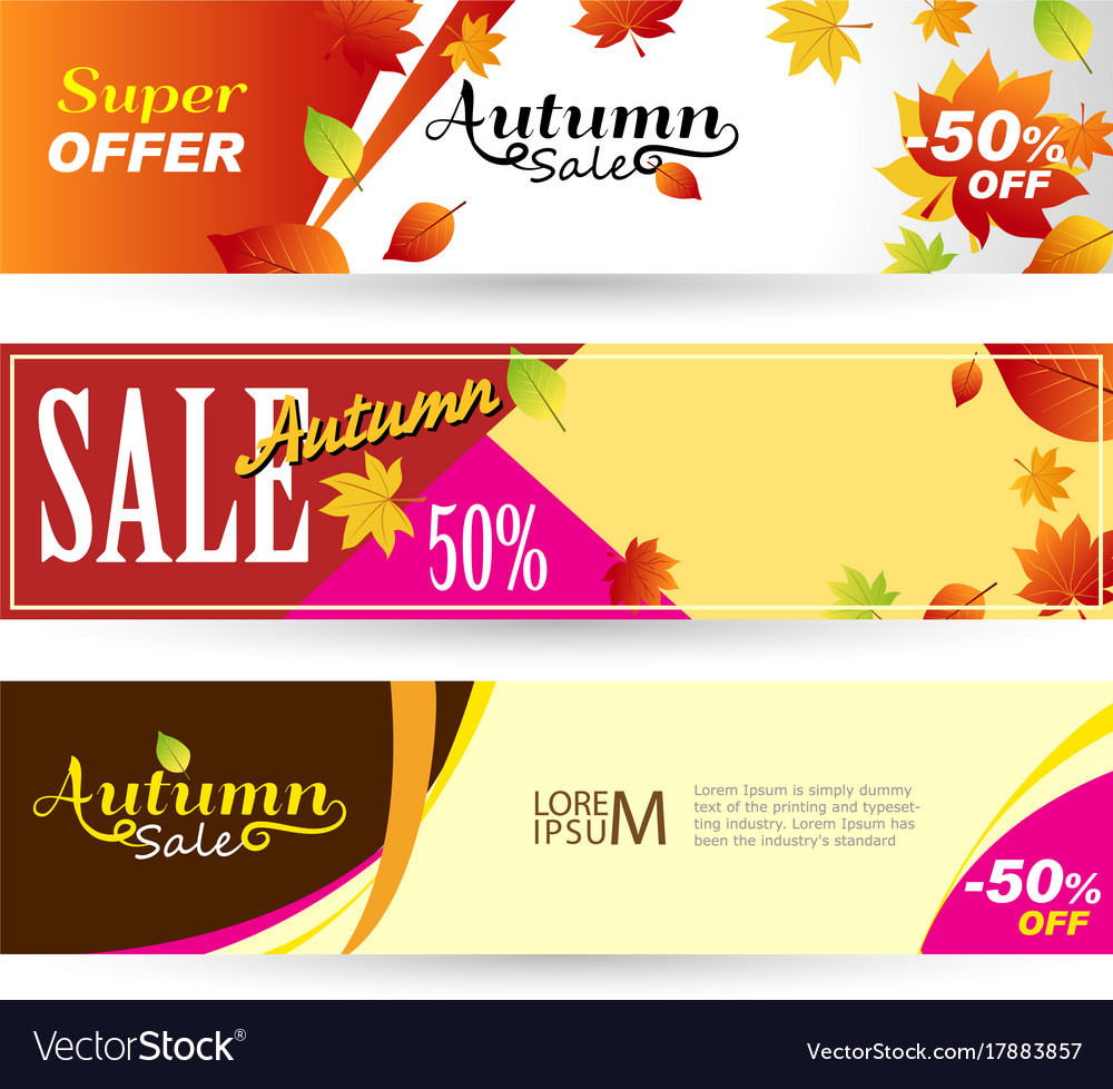 Bright banners on light orange and yellow vector image