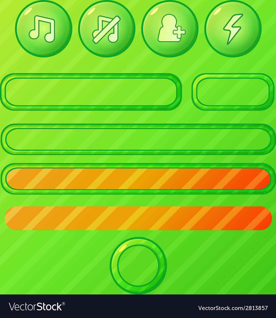 Bright green game ui elements - buttons and bars