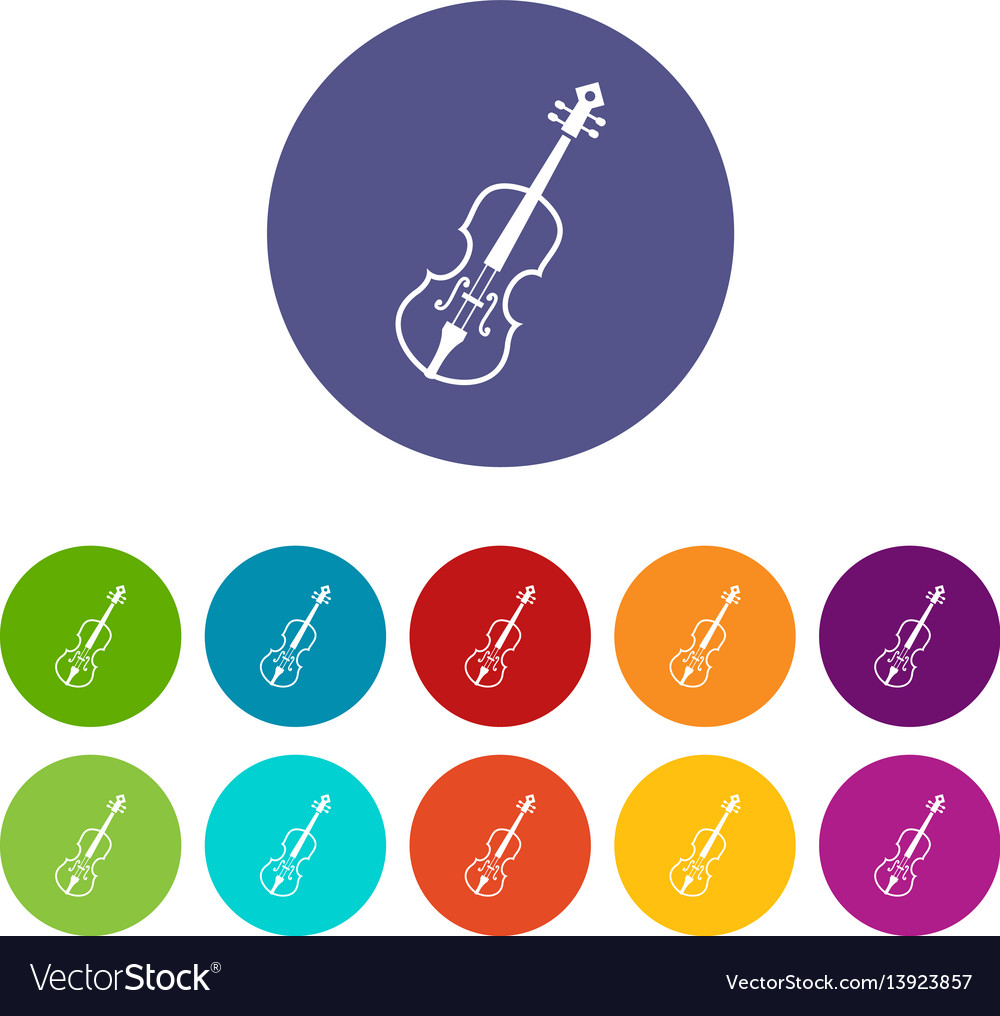 Cello set icons vector image