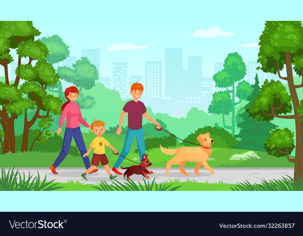 Family walking with dog man woman with kid go in
