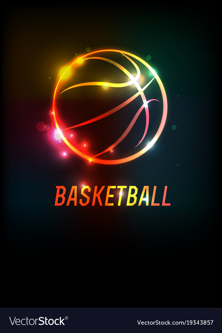 Glowing Basketball Icon Background Royalty Free Vector Image