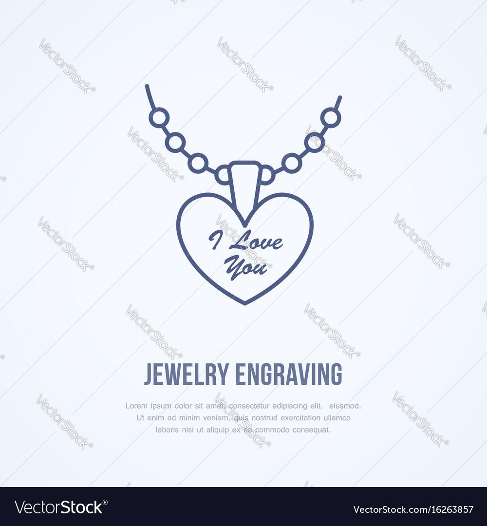 Pendant on chain jewelry flat line