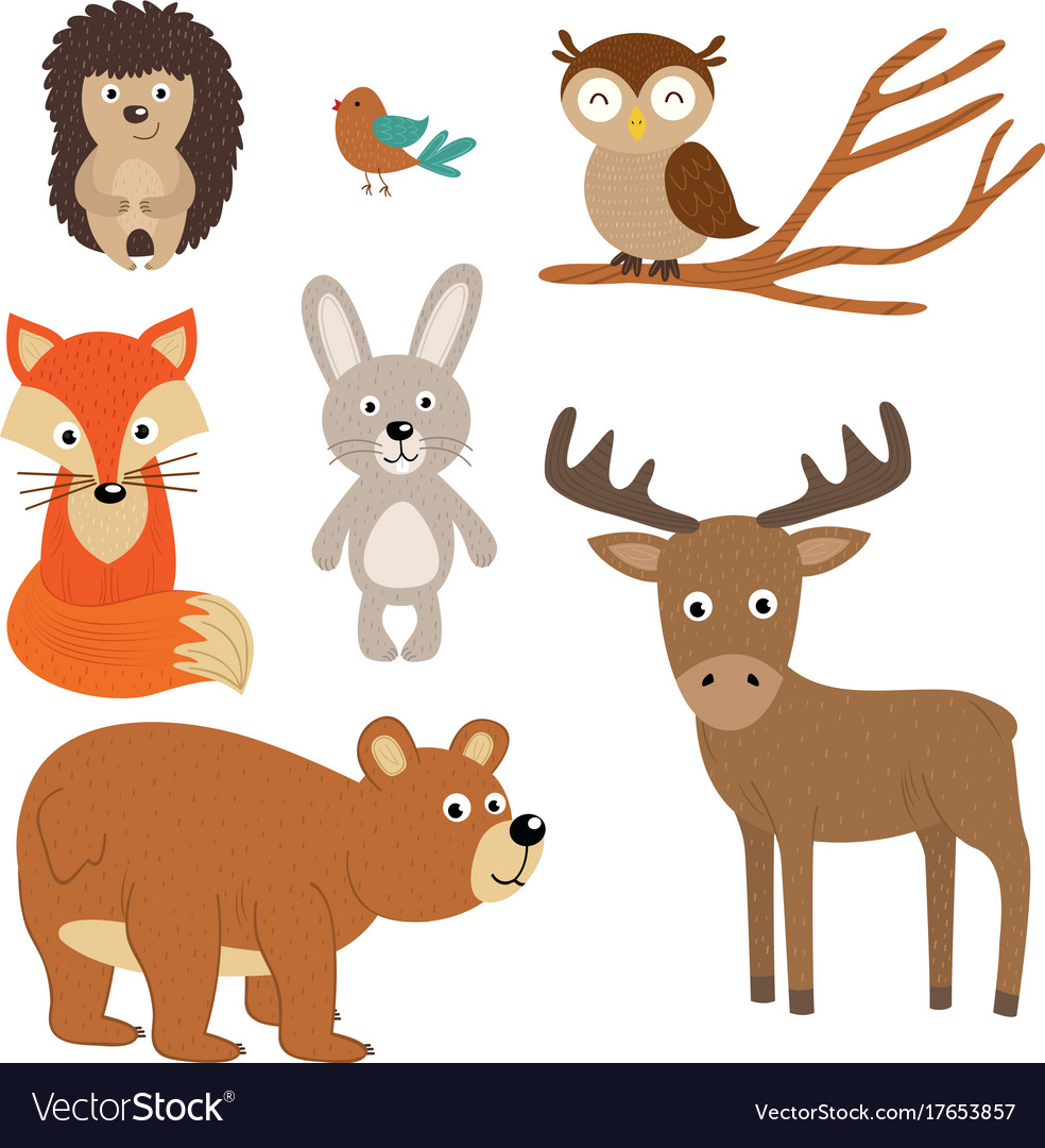 Set of isolated forest animals