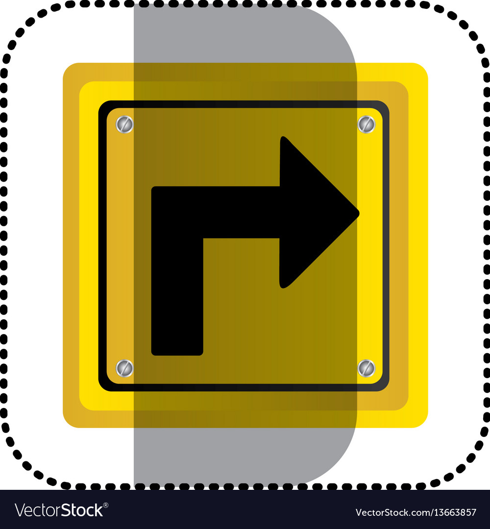 Sticker yellow square frame turn right traffic