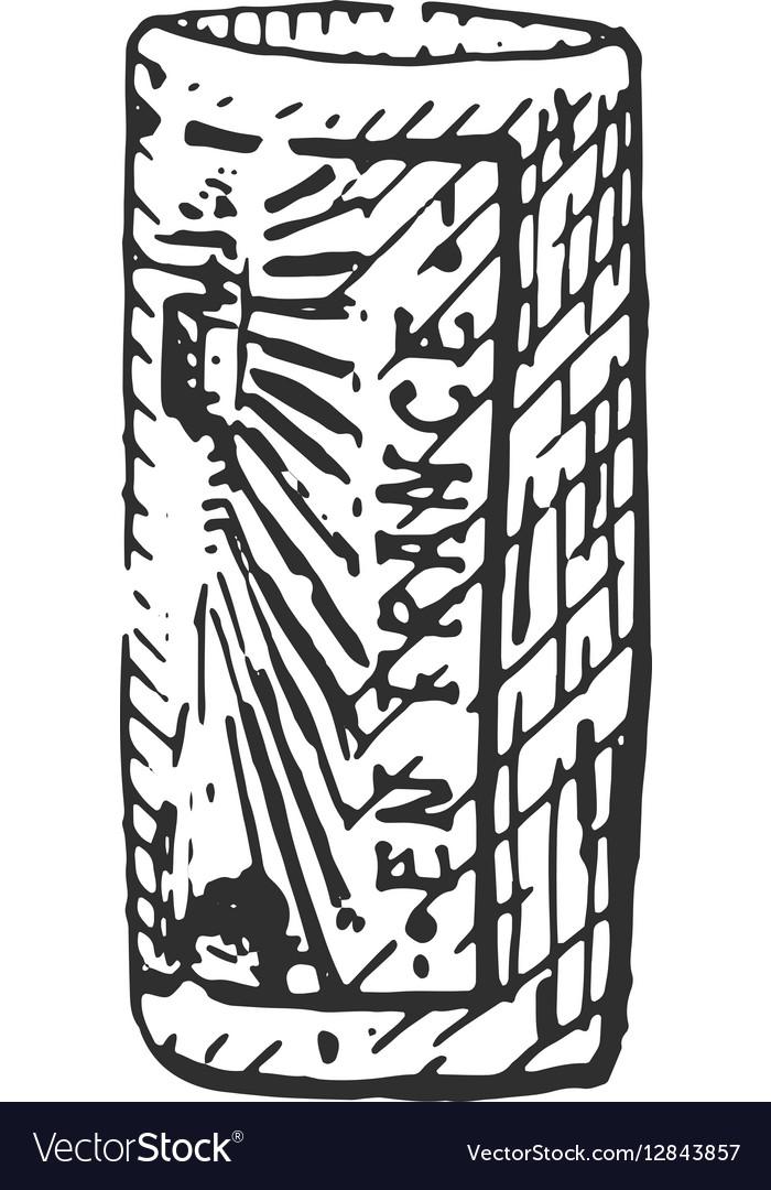 Vintage engraved cork for bottle of wine hand