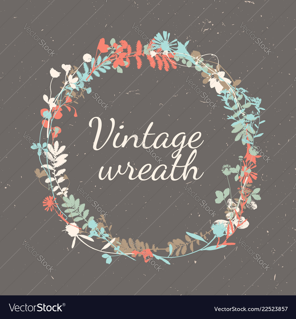 Vintage wreath in natural plant flowers and