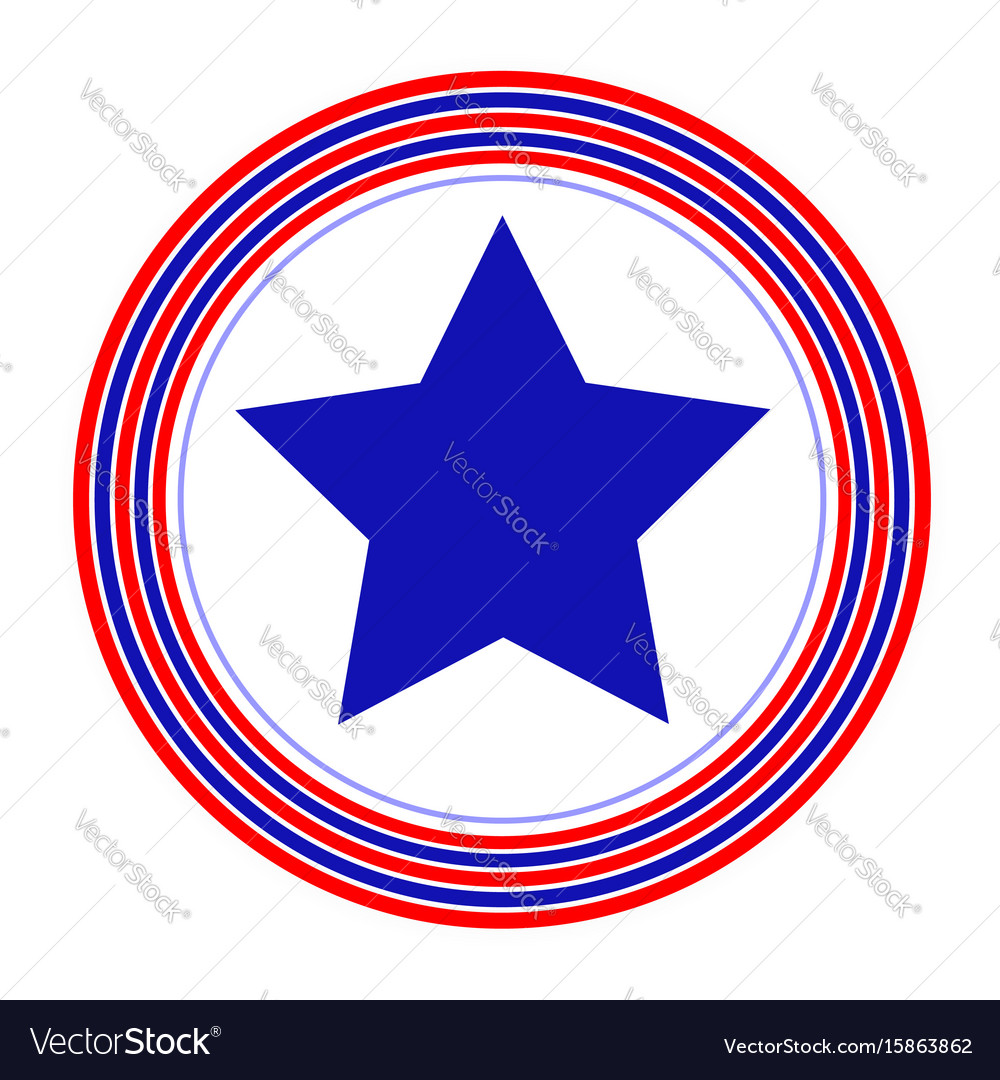 American symbol blue star rings simple vector image