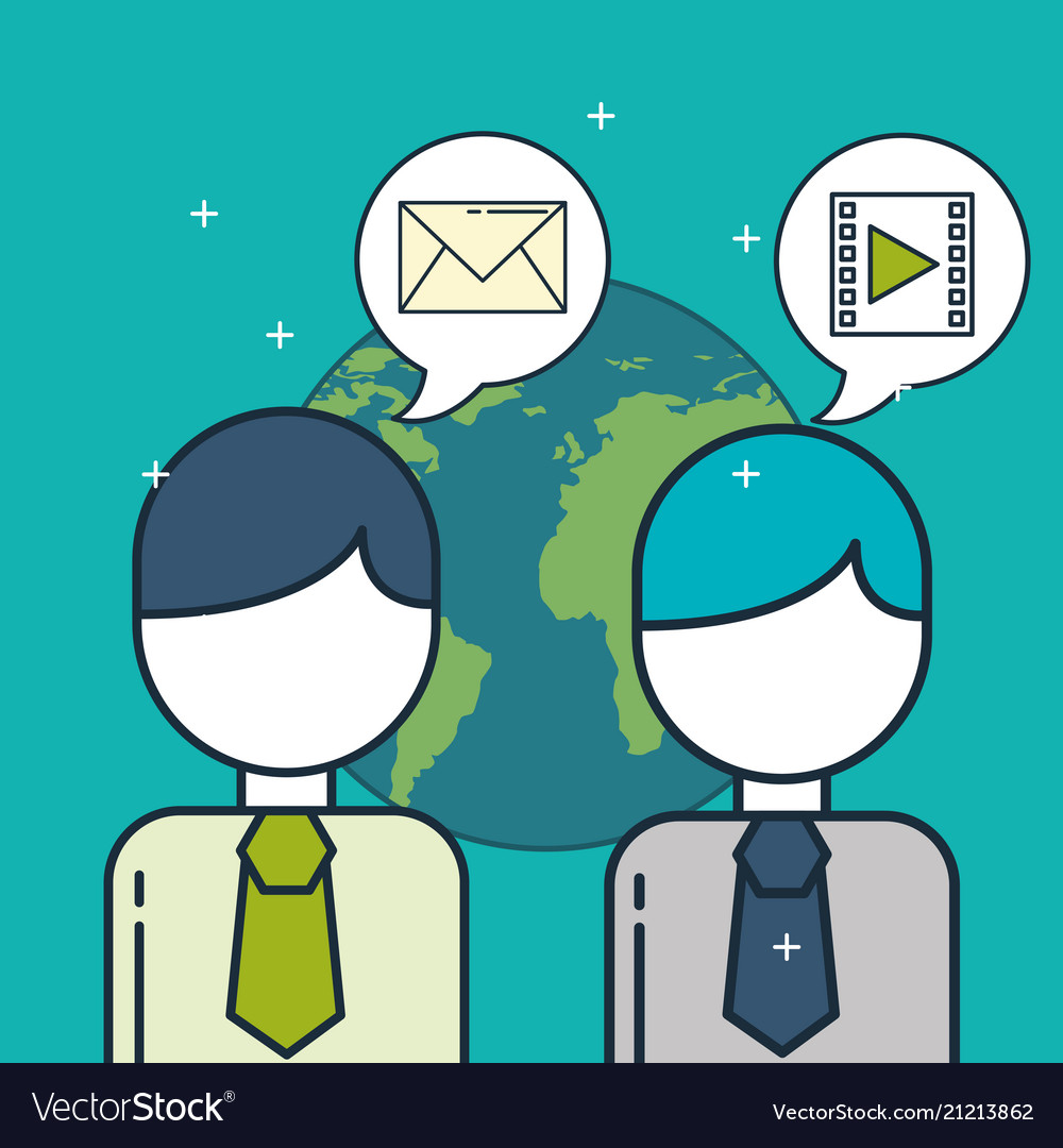 Business people and speech bubble email video