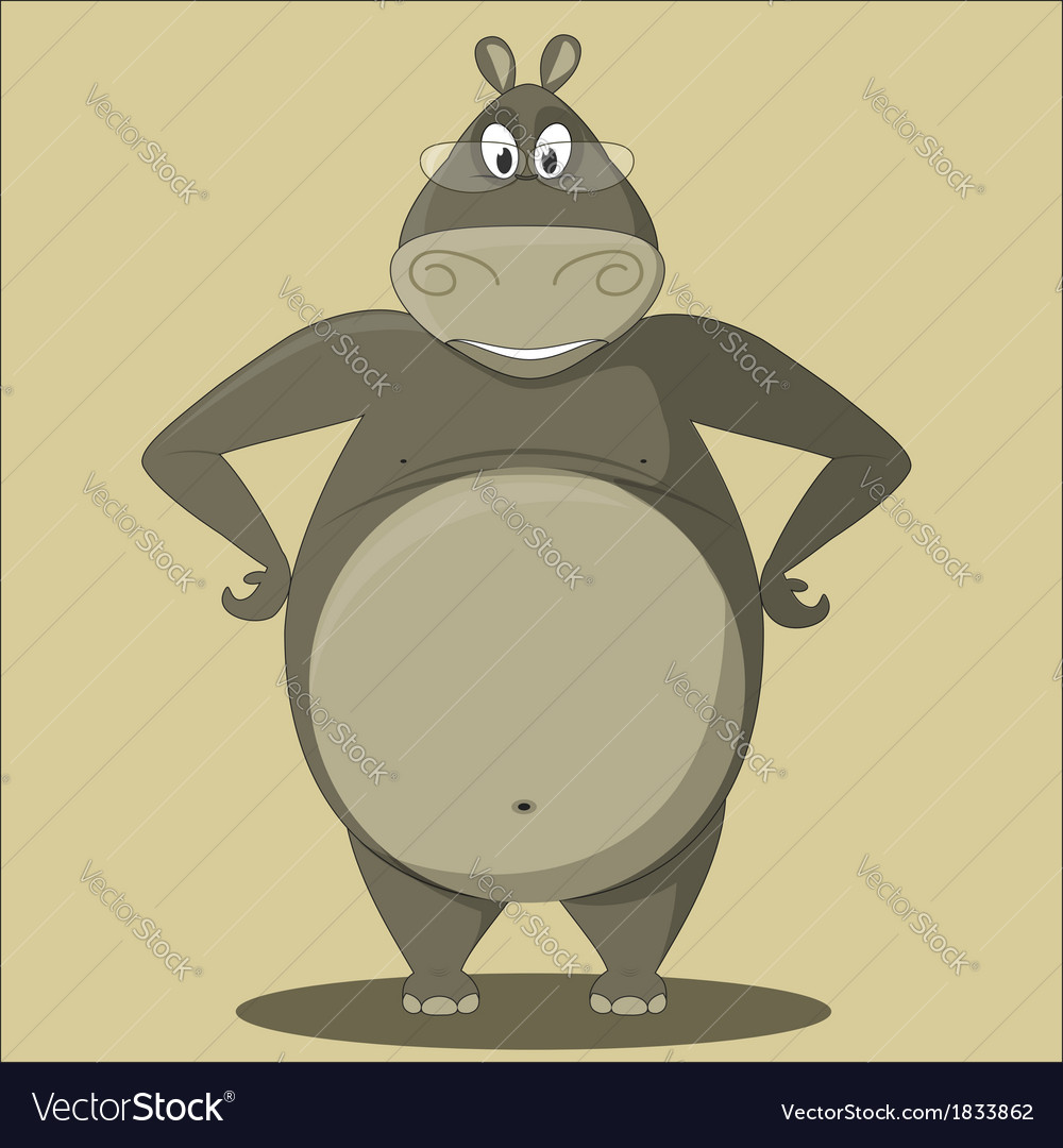 Cartoon Hippo with Glasses