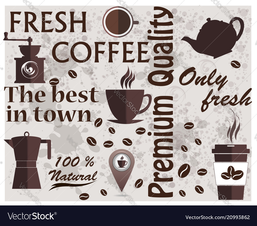 Coffee shop logo coffee elements texture food