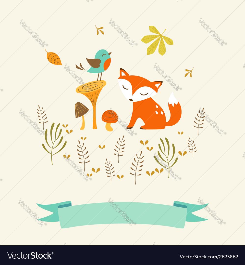 Cute autumn card vector image
