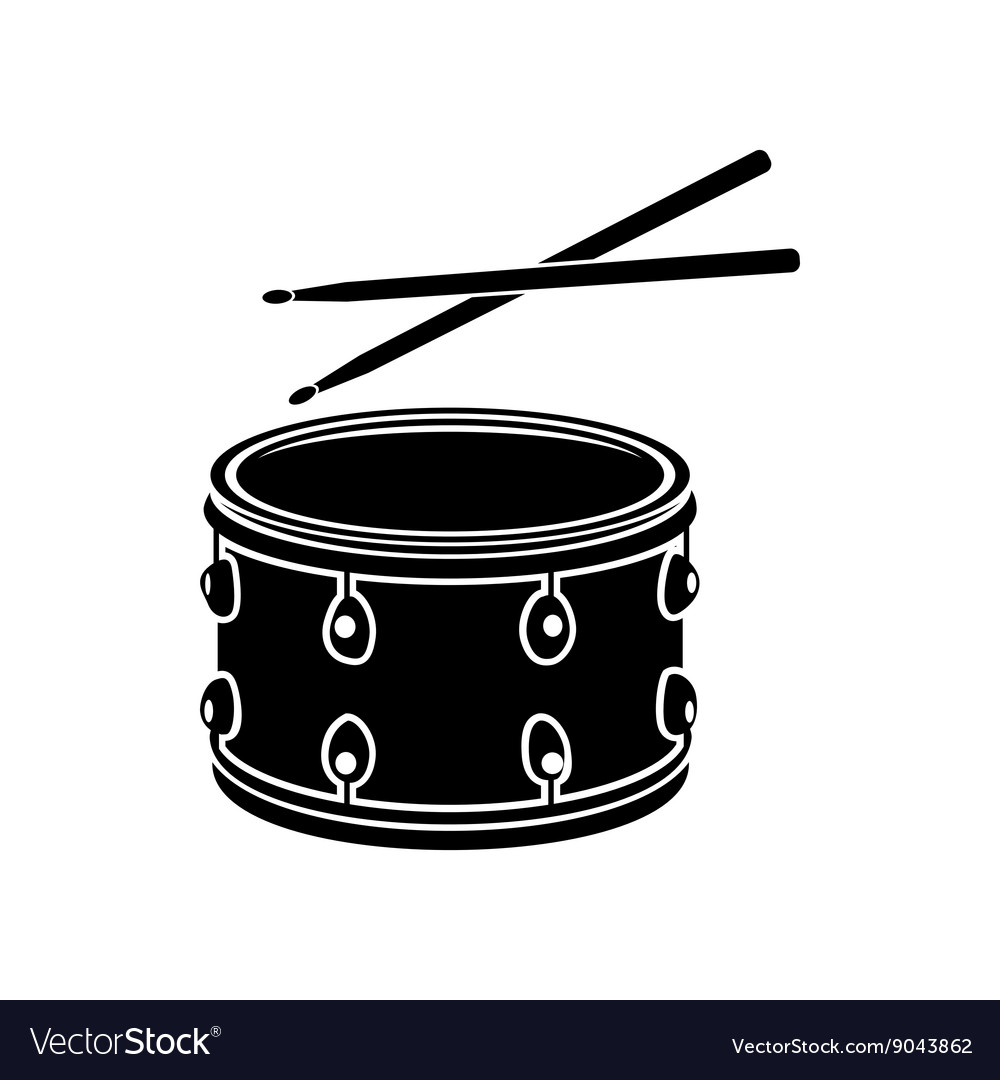 Drum with sticks icon black simple style