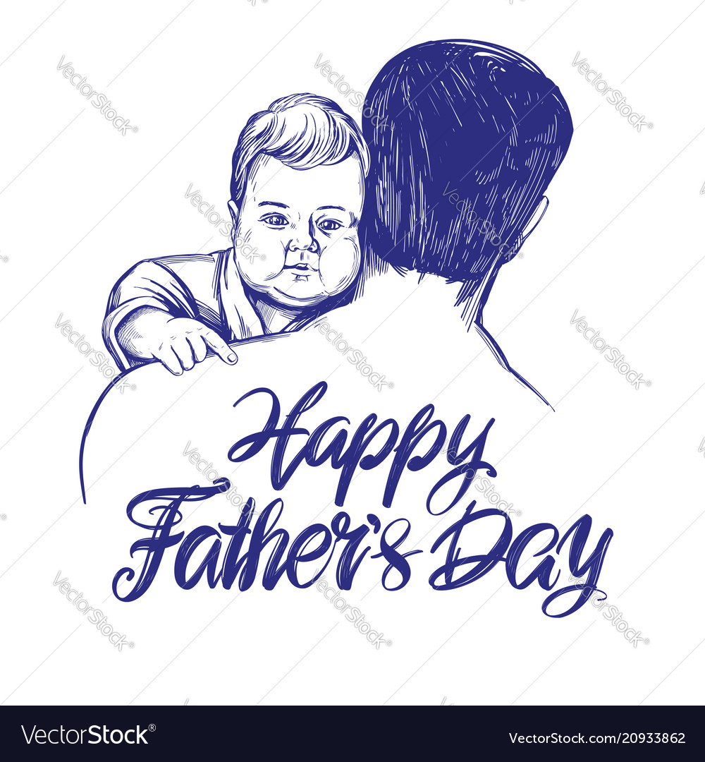 Father holding a baby fathers day hand drawn