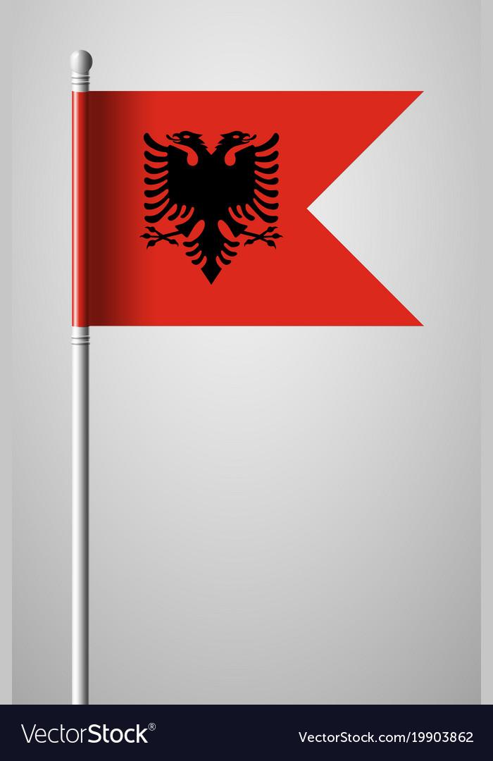 Flag of albania national flag on flagpole
