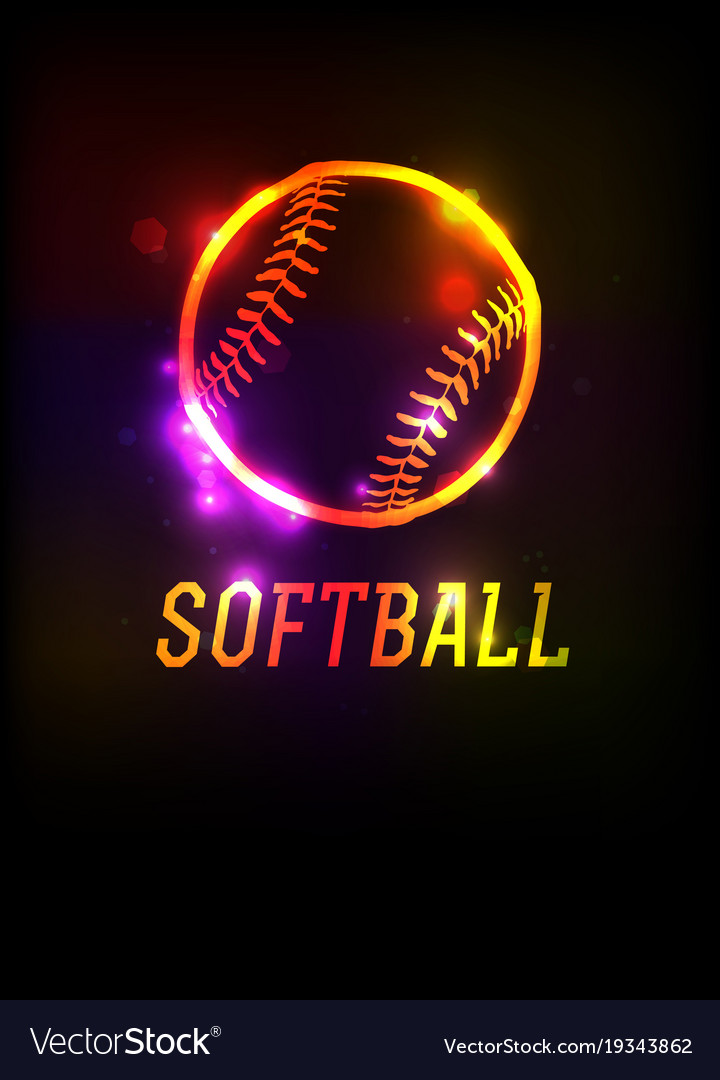 Glowing softball icon background vector image