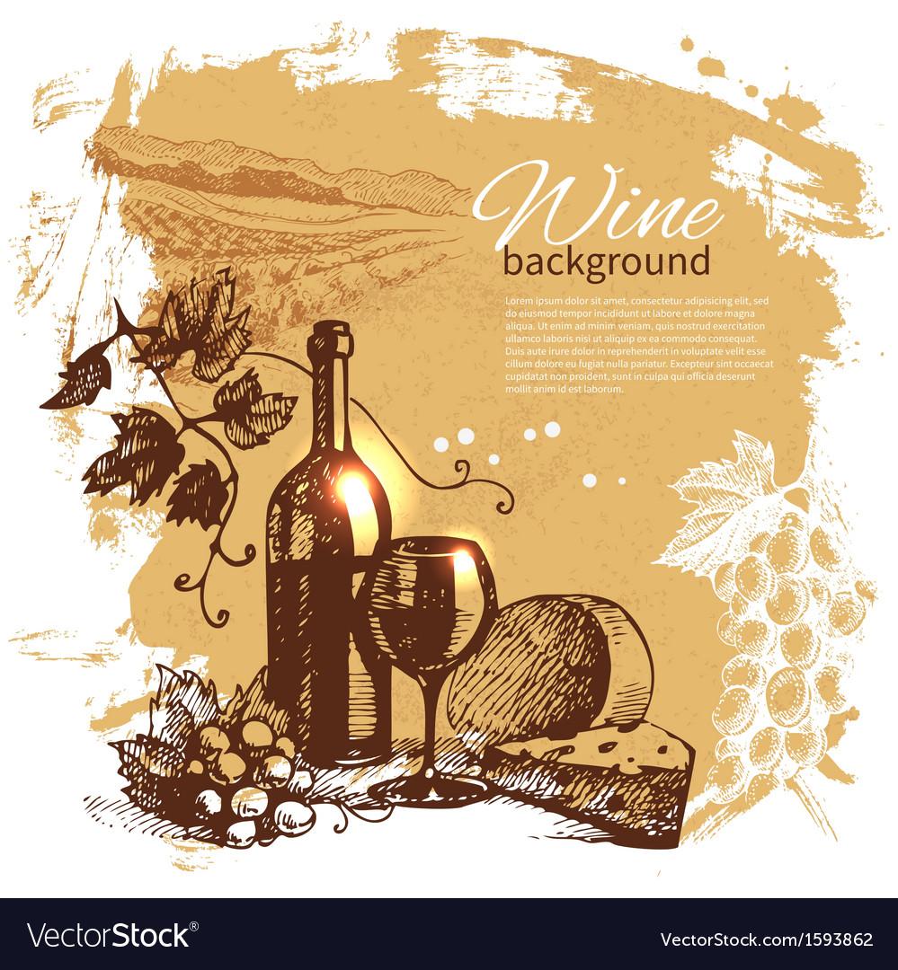 Hand drawn vintage wine menu background