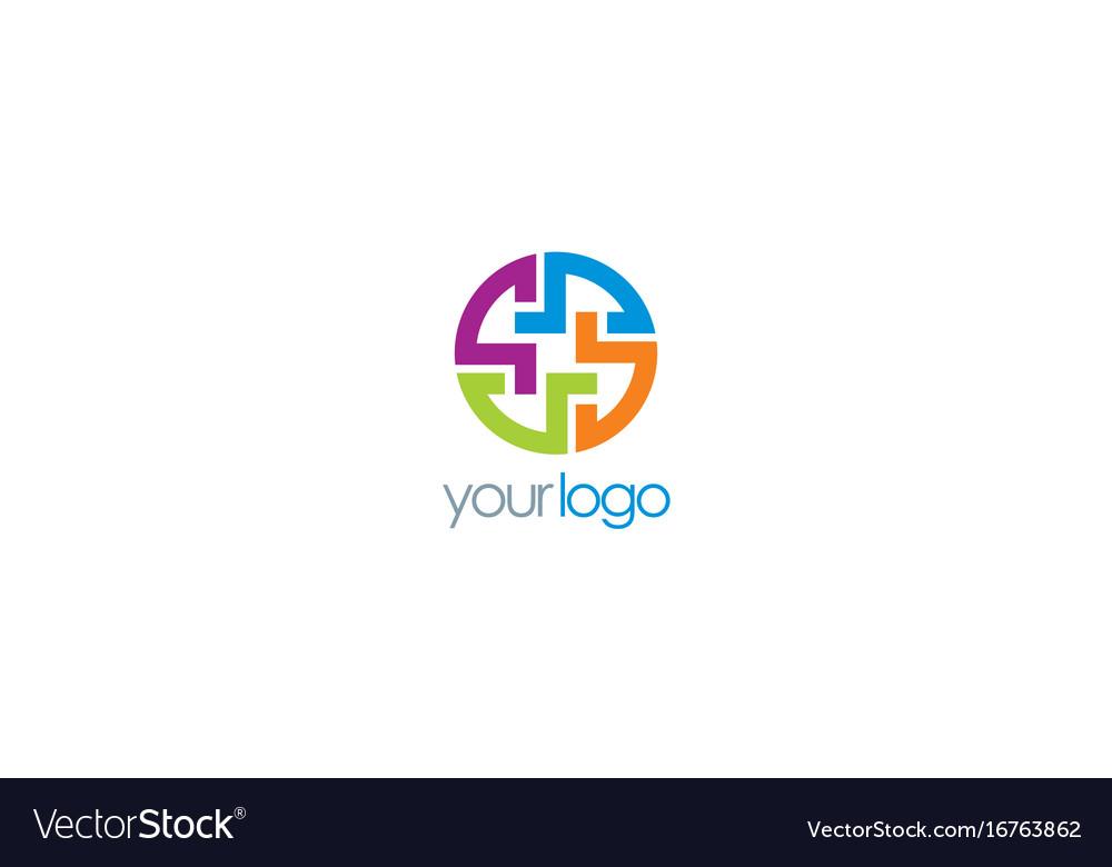 Round Maze Puzzle Logo Royalty Free Vector Image