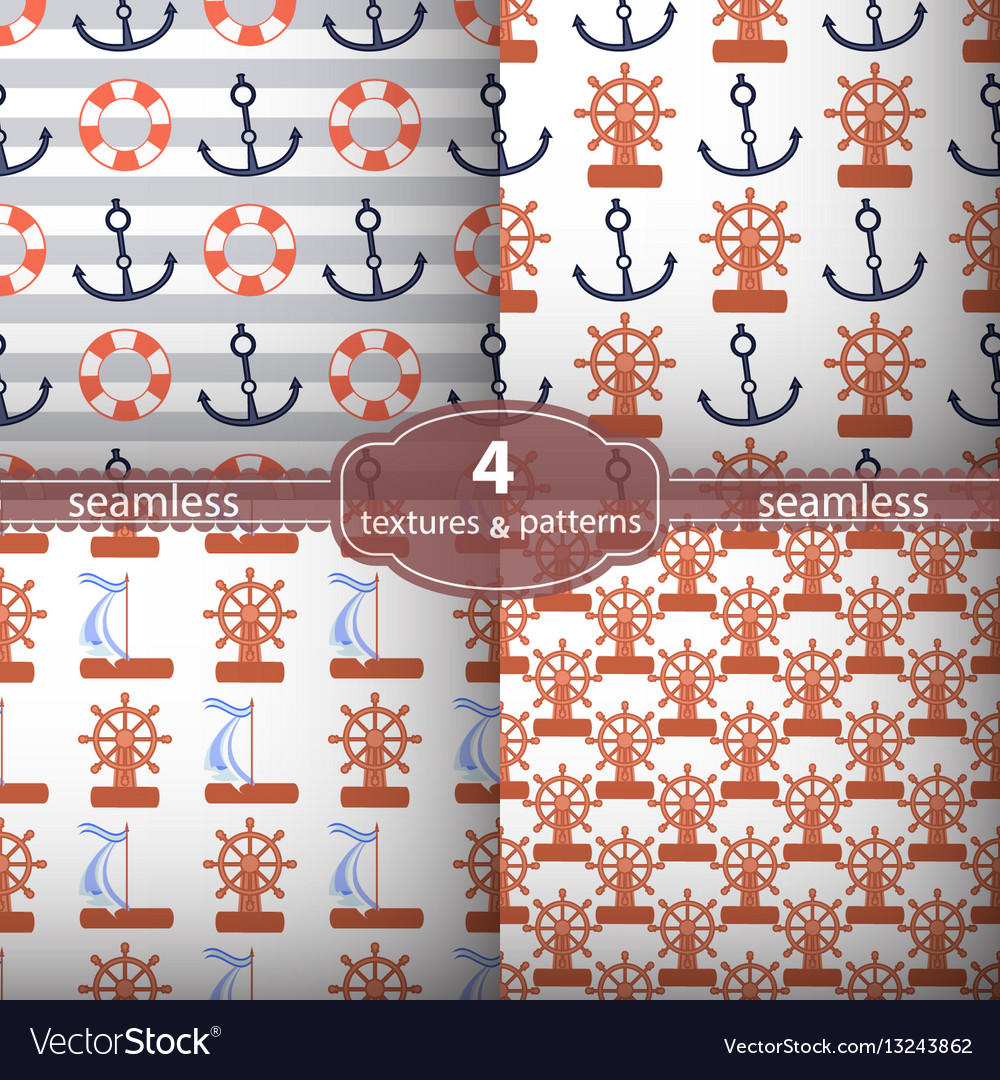 Seamless pattern four pieces anchors and wheel