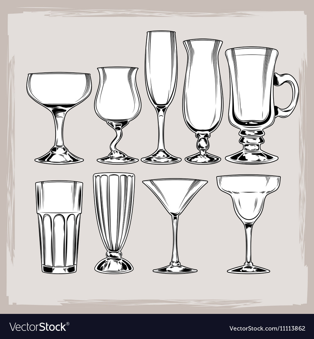 Set of empty cocktail glasses vector image