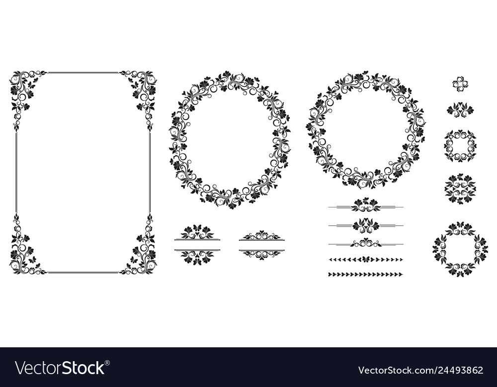 Set of graphic elements for design floral