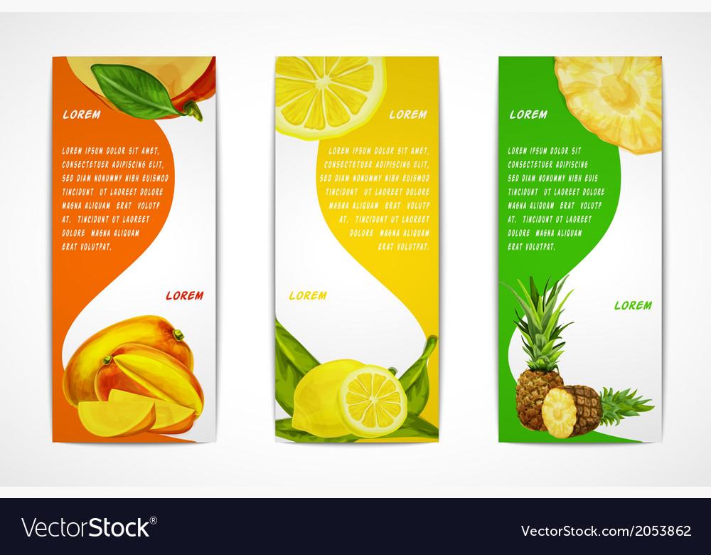 Tropical fruits vertical banner set