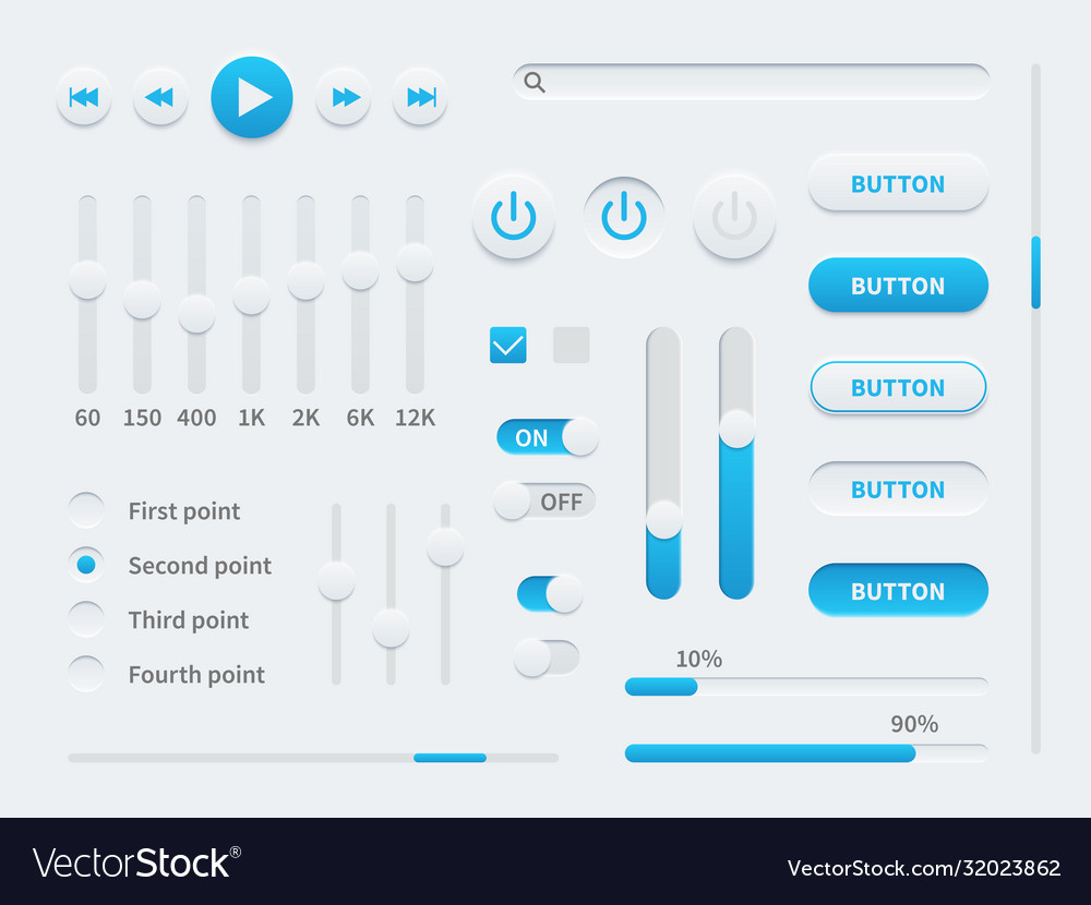 White ui user interface elements for mobile