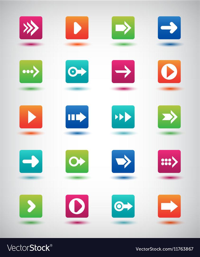 Arrow sign icon set Simple square shape vector image