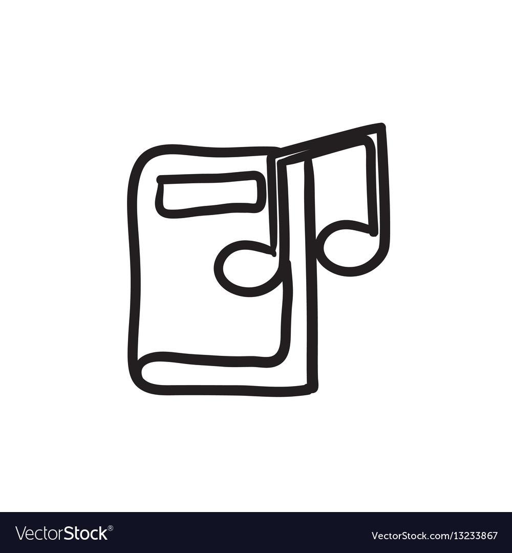 Audio book sketch icon vector image