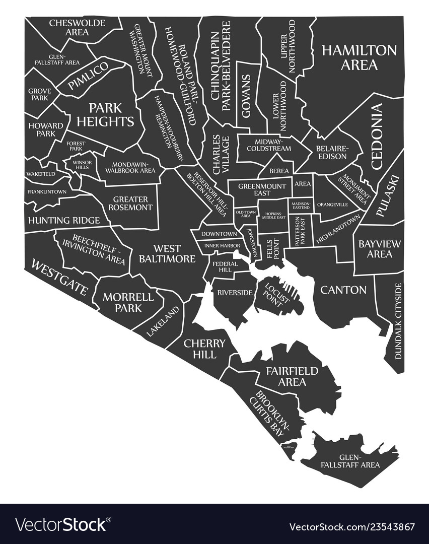 Baltimore Maryland City Map Usa Labelled Black Vector Image
