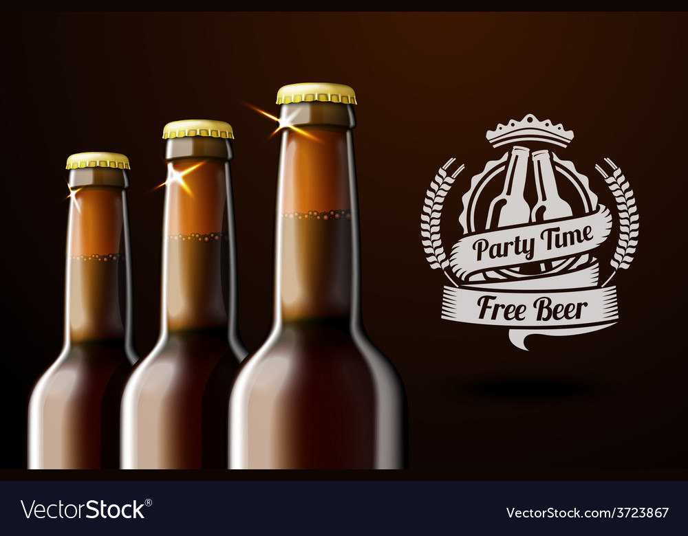 Banner for beer adwertisement with three realistic