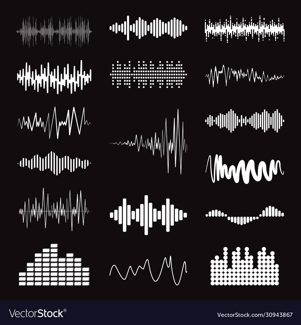 Big collection white music wave on black