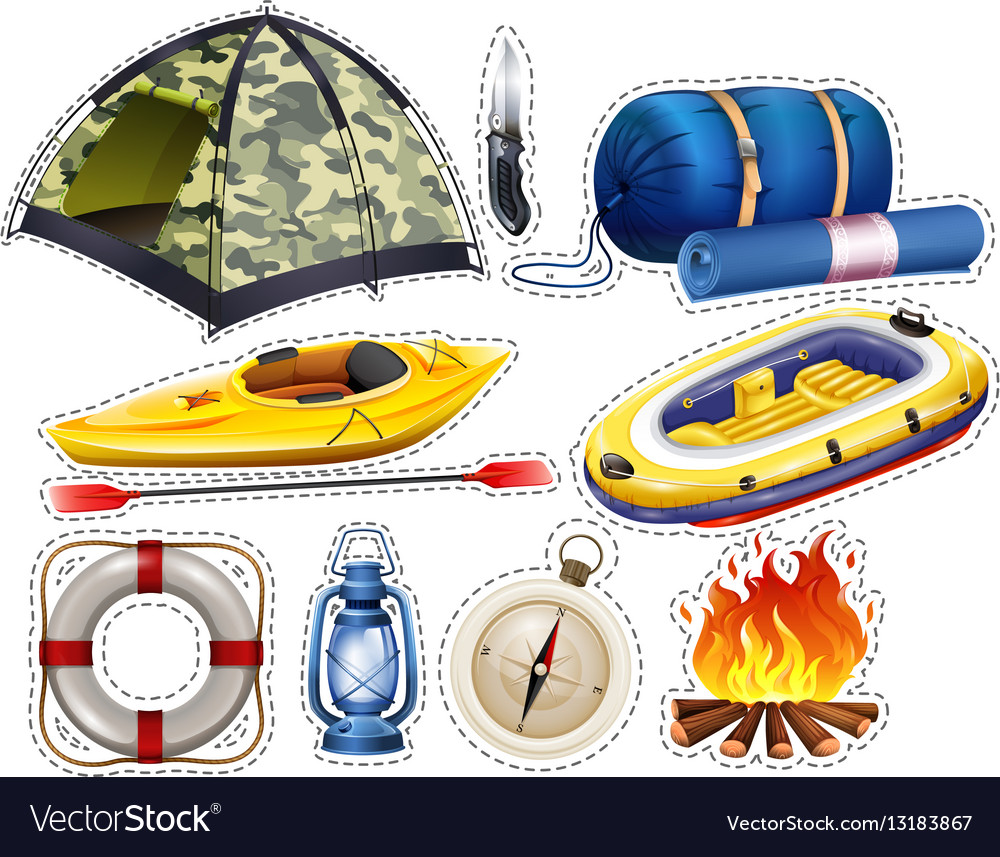 Camping sticker set with tent and sleeping bag
