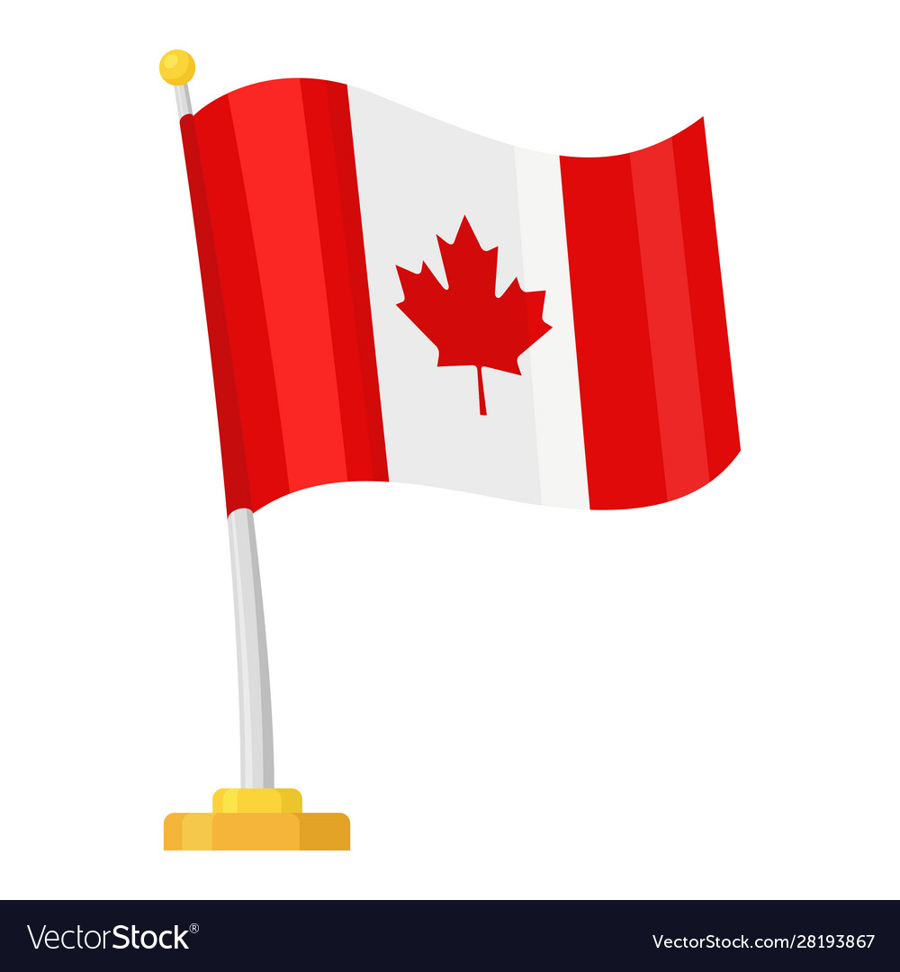 Canadian flag with a maple leaf icon