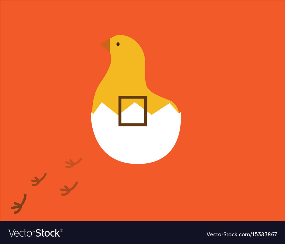Chick in egg and chicken footprint with square vector image