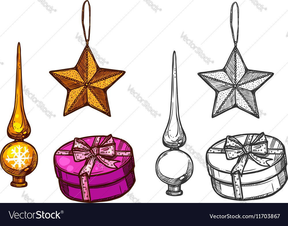 Christmas tree ornaments gifts sketch vector image