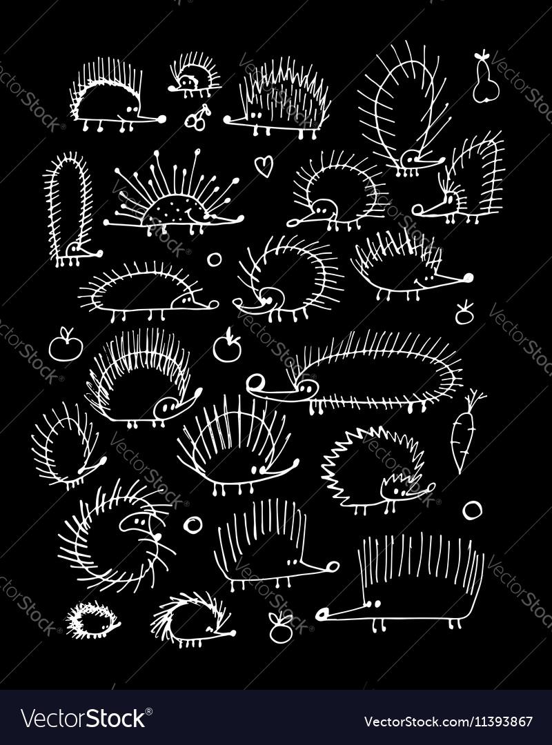 Funny hedgehog collection sketch for your design