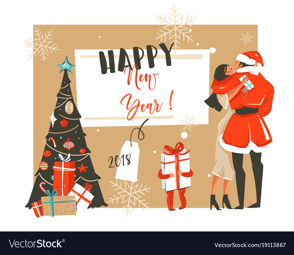 Hand drawn abstract fun happy new year 2018 Vector Image