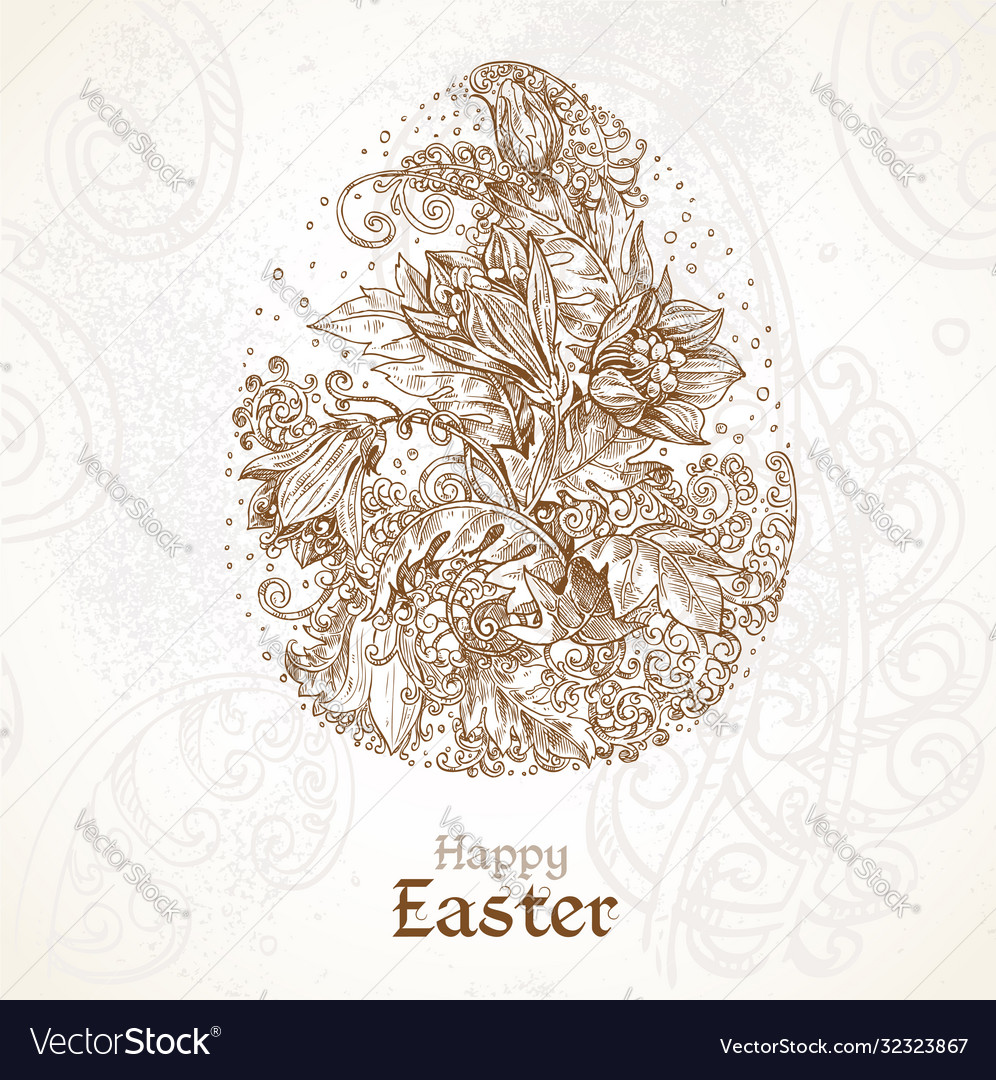 Happy easter vintage background with delicate egg