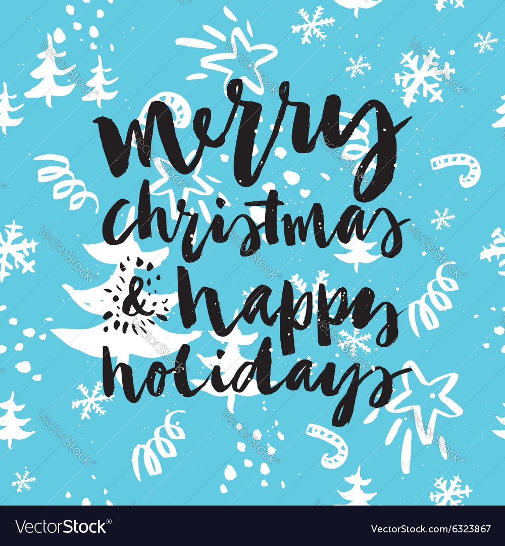 Happy New Year and Christmas Hand lettering