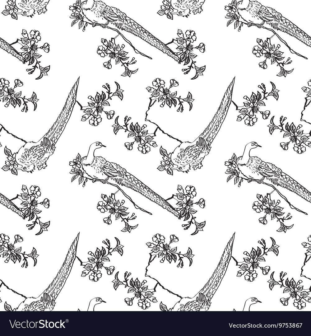Japanese traditonal seamless pattern with birds