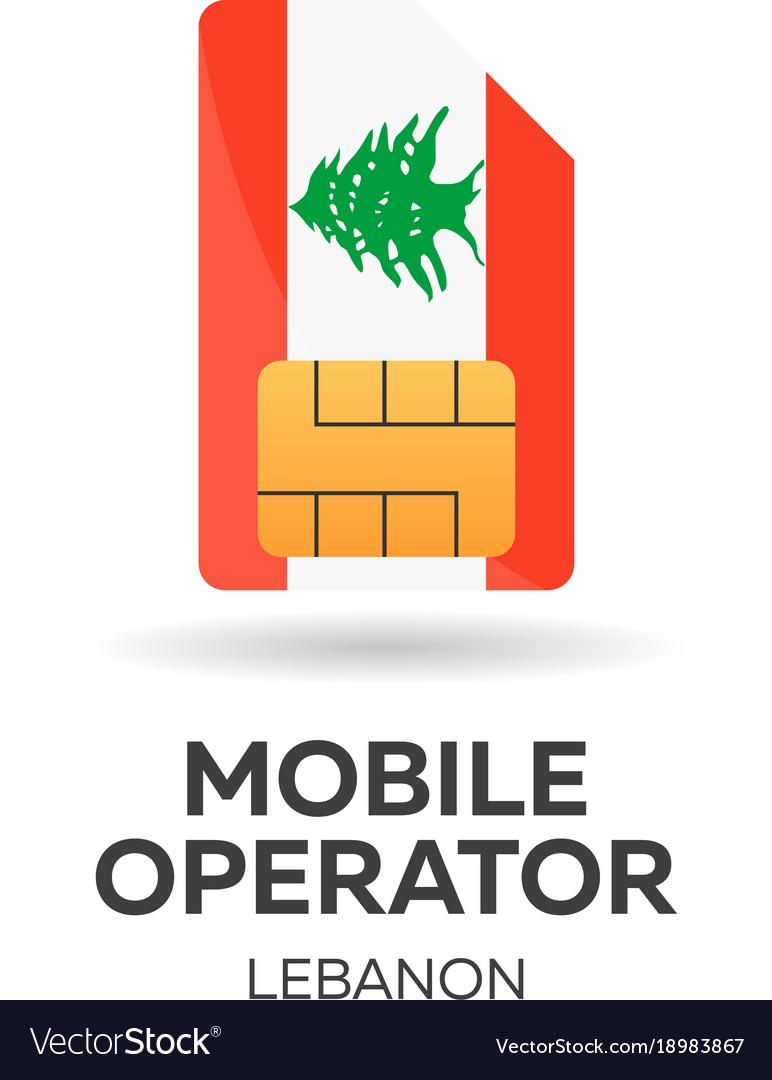 Lebanon mobile operator sim card with flag