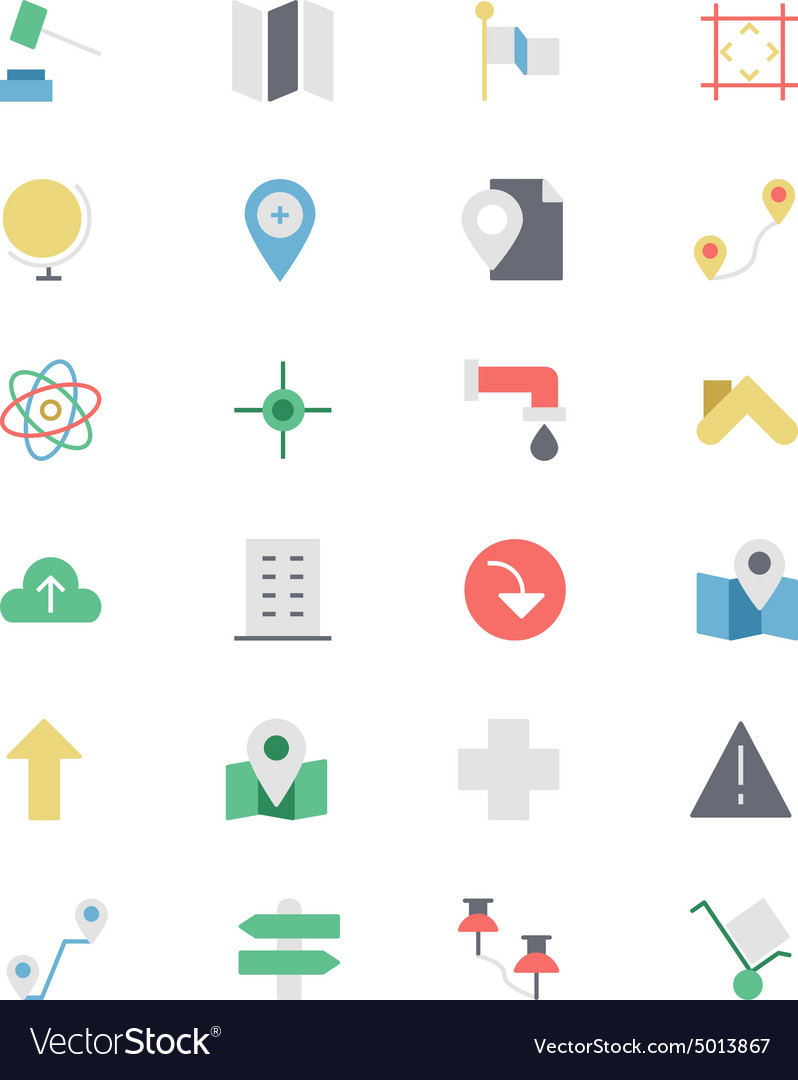 Map and Navigation Colored Icons 3