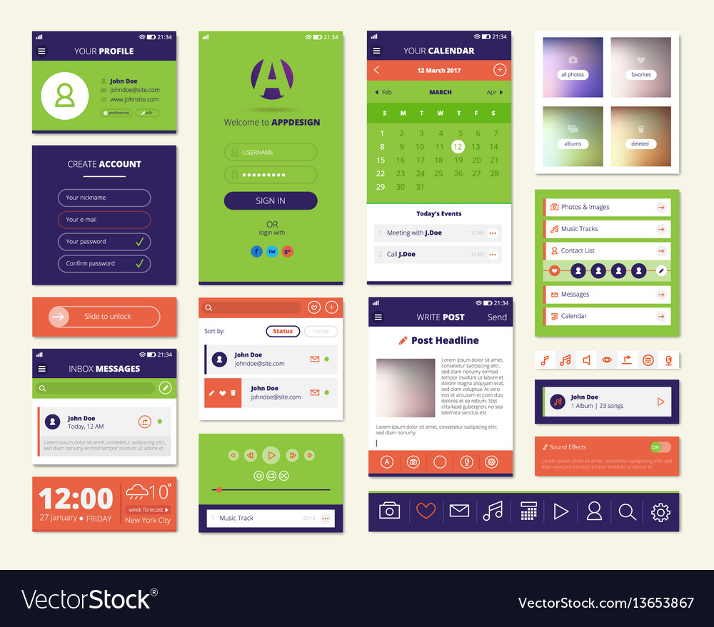 Mobile apps screen elements set