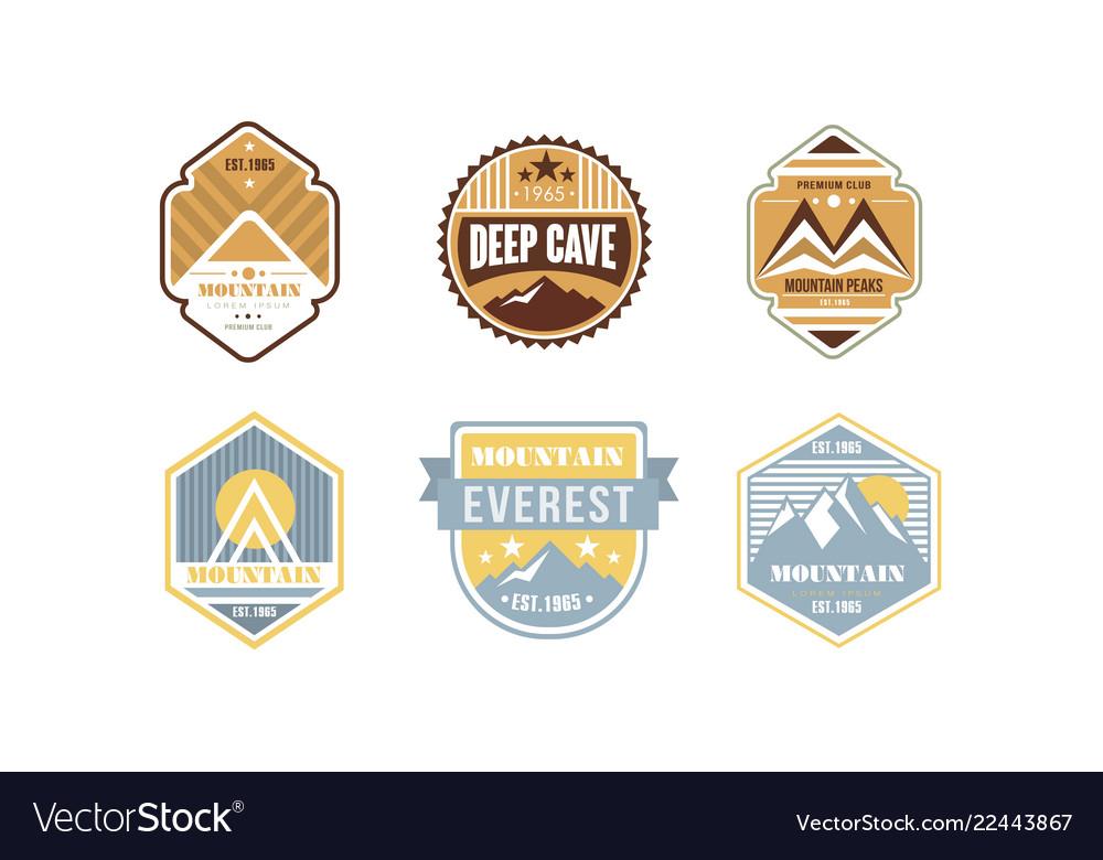 Mountain peaks logo design set camping hiking