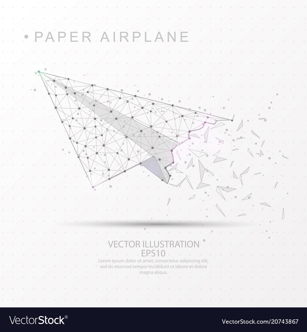 Paper airplane shape digitally drawn low poly
