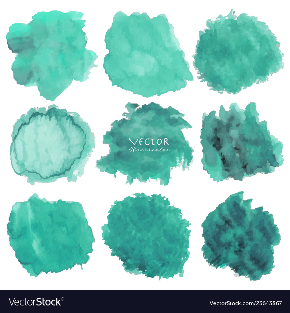 Set of mint watercolor on white background