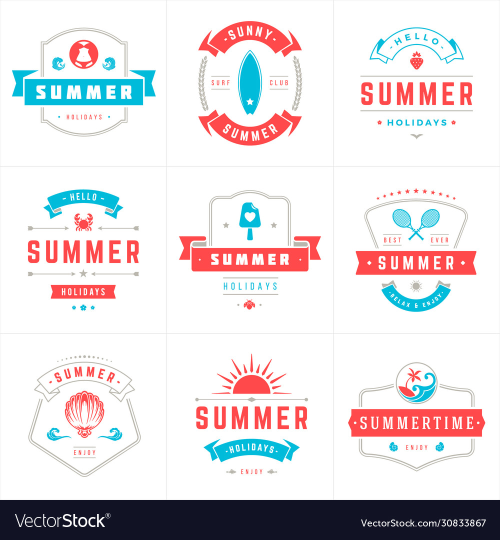 Summer holidays labels and badges typography
